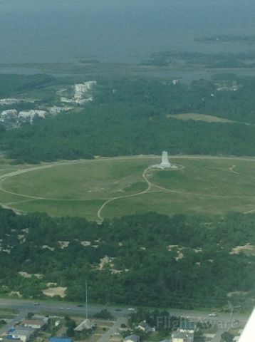 — — - photo from a Cessna 172 flying over Kitty Hawk monument last summer