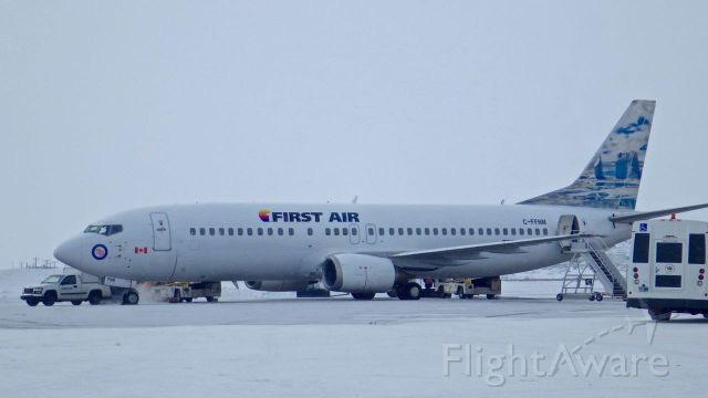 BOEING 737-400 (C-FFNM) - This is my first time seeing this plane in Iqaluit, Nunavut April 1, 2016