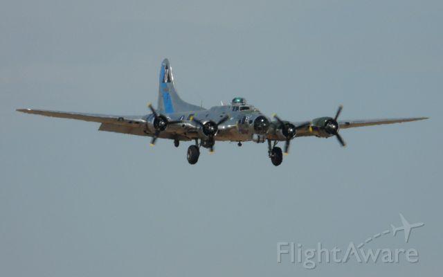 "N9323Z — - B-17G ""Sentimental Journey"" landing Clovis October 3, 2011.  Photo taken from north T hangar area."