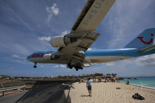 Boeing 747-400 (F-HSUN) - When you thought you have seen it all. Corsair B744 F-HSUN over the beach!!!