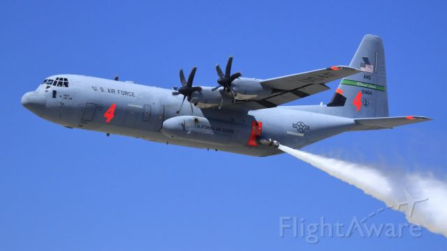 Lockheed C-130 Hercules (N21464) - California Air National Guard C-130J Super Hercules, MAFFS 4 <br />(Modular Airborne FireFighting System, 3,000 US Gal)<br /><br />CHANNEL ISLANDS AIR GUARD STATION, 146th Airlift Wing ANG<br /><br />Air Demonstration<br />March ARB 5-1-2010