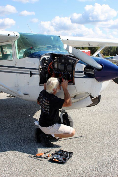 Cessna Skyhawk (N5082U) - Fixing the alternator in belt in Sussex the day after we had an electical failure around midnight. Intended route: KTEB-KERI