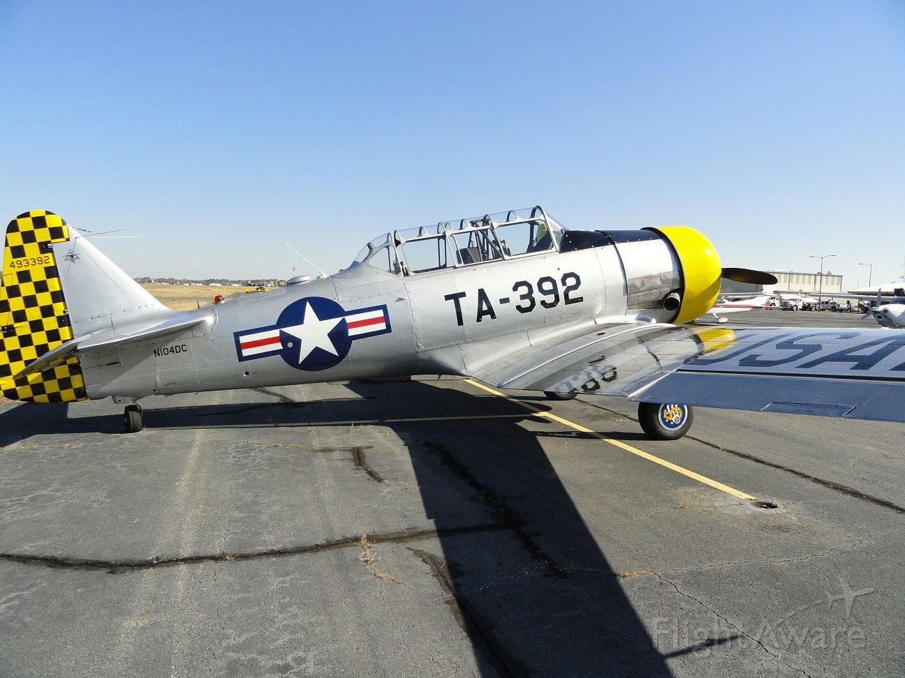 — — - T-6 flown by KT and Syd Jones as chase/photo aircraft for Tom Reilly's XP-82 Twin Mustang first official flight, 28 January 2019. Douglas, GA.