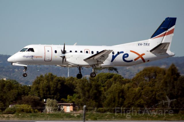 Saab 340 (VH-TRX) - About to put down on runway 05. Wednesday, 21st May 2014.