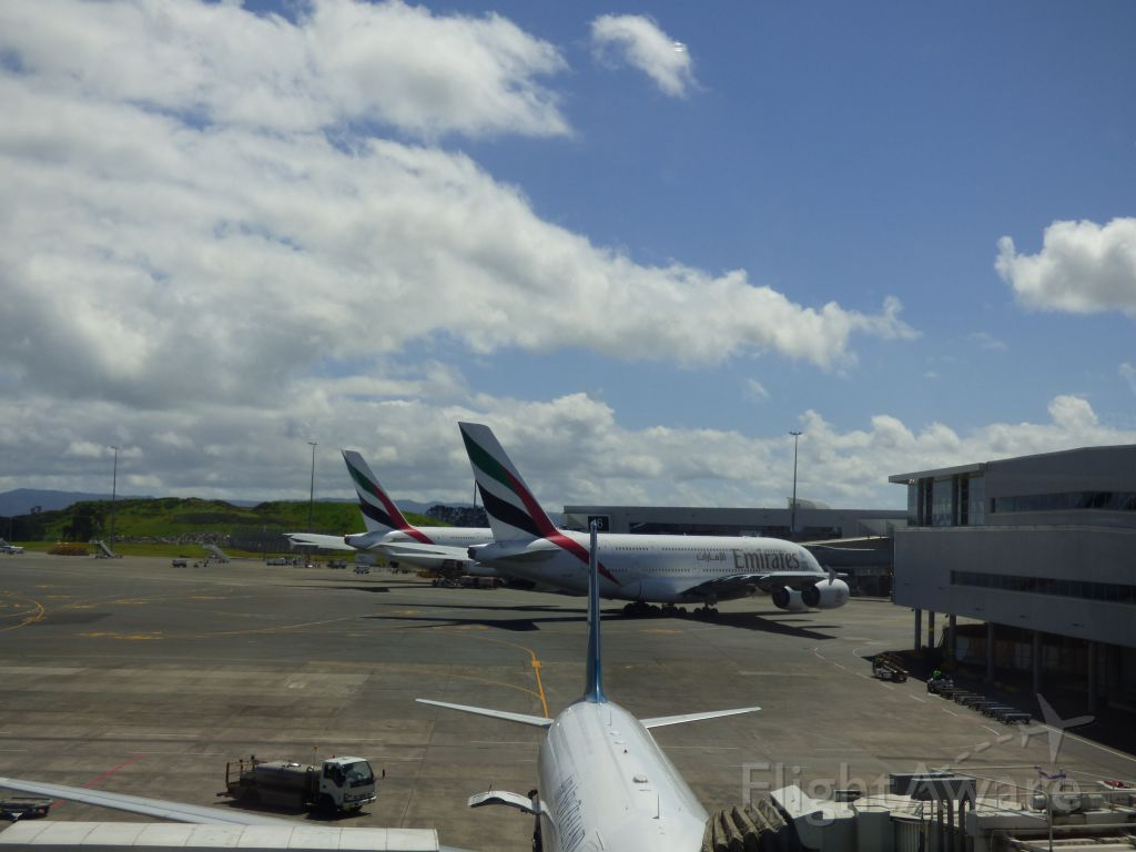 A6-EDE — - A6-EDE next to twin A6-EDD 2 of 3 daily Emirates A380 to Auckland.