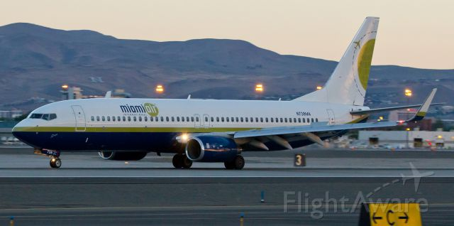 Boeing 737-800 (N738MA) - Being out last Saturday to photo-doc the US Marine activities at KRNO and the troop departure on a UA B744 (see the other picture I posted moments ago) reminded me of similar exercises in previous years. This snap was taken last year when a BSK B738 was at Reno in the dawn light before full sunrise to transport Marines.