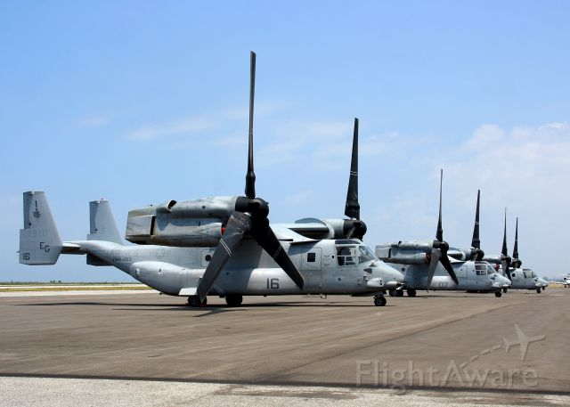 Bell V-22 Osprey (16-7910) - A trio of USMC MV-22's at KBKL during Marine Week Cleveland on 12 Jun 2012. Pictured are #16- 167910, #07-166492, & #05- 167913.