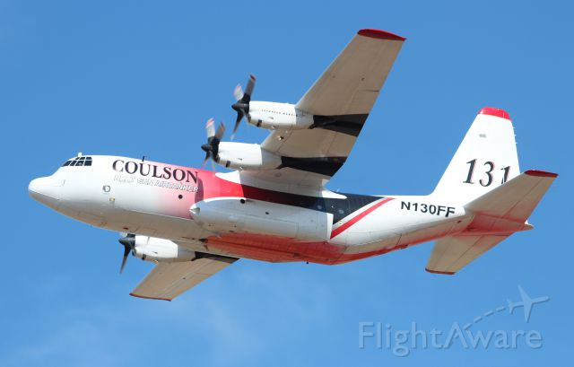 Lockheed C-130 Hercules (N130FF) - Departing Rogue Valley Intl Airport for the Happy Camp Complex fires.