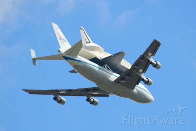 Boeing 747-200 (N905NA) - Last flight of the space shuttle Enterprise, atop the NASA 747 ferrying it, before the shuttle retires to the USS Intrepid museum.