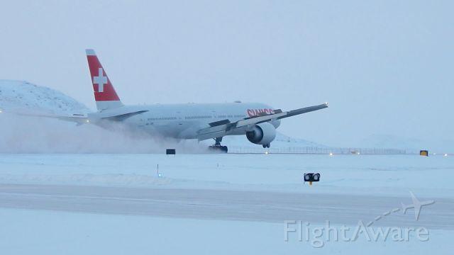 Boeing 777 — - Swiss flight LX40 lands in Iqaluit Nunavut on 1 engine