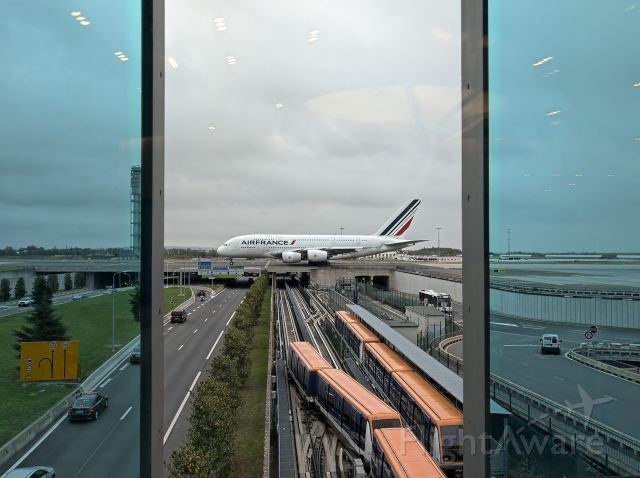Airbus A380-800 (F-HPJB) - A380 Taxiing taken from Air France Lounge CDG Terminal 2E.