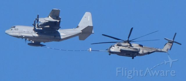 16-6763 — - KC-130J 16-6763 refueling CH-53E 16-1381 at 8500' MSL<br />Lone Pine, California, April 9, 2021