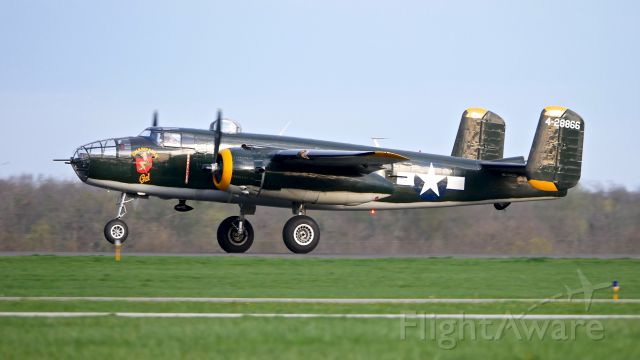 North American TB-25 Mitchell (N744CG) - B-25J-15 Champaign Gal (SN 44-28866) on rotation from Rwy 20 for a flight to Wright Field on 4.17.17. The event was the 75th anniversary of the Doolittle Raid and was held at Wright-Patterson AFB.