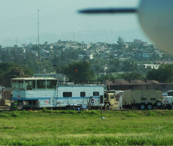 Cessna Caravan (N9529G) - The temporary control tower put in place after the earthquakes at Port-Au-Prince