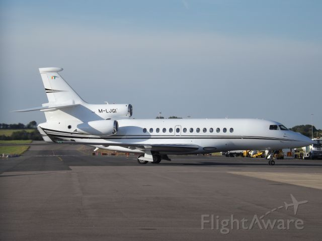 Dassault Falcon 7X (M-LJGI) - Taxing in at Bristol Airport.
