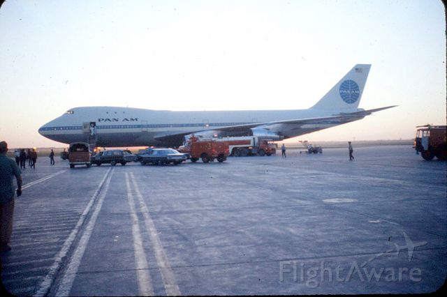 Boeing 747-200 — - I took this photo with a Pentax 35 mm in the early 1970's. Notice the absence of airport security.