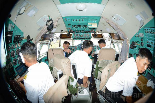 P-885 — - Air Koryo IL-62M at FNJ. A busy 5 person cockpit.