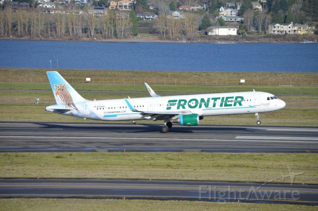 """Airbus A321 (N705FR) - """"Ferndale the Pygmy Owl"""" arriving on 10L as FFT2171 from Las Vegas (KLAS/LAS)."""