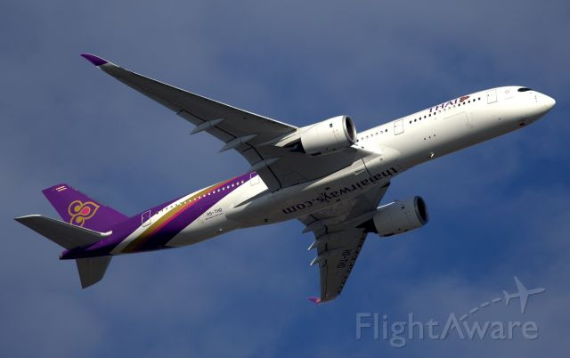 Airbus A350-900 (HS-THD) - Climbing from Rwy 34L-First Thai A350 visit to Sydney