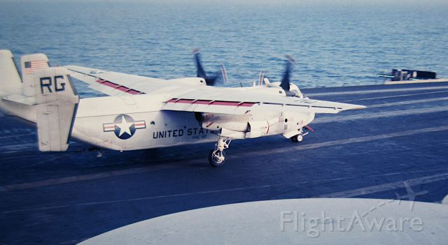 — — - VRC-50 C-2A takes a 3 wire aboard USS Kitty Hawk Yankee Station South China Sea 1967