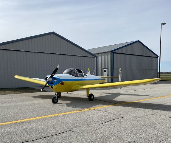 ERCO Ercoupe (N552SM) - Steve first flight as PIC in Ercoupe, in front of our hangar at GRB before start-up.