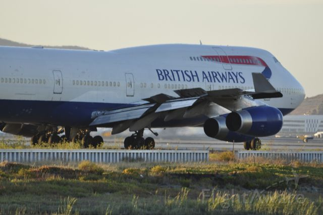 Boeing 747-400 (G-CIVJ) - Speedbird 286 - continuing to taxi and performing a flight control check.