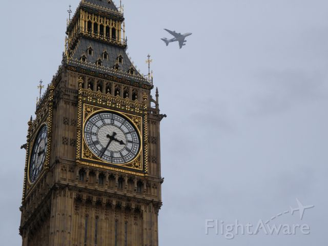Airbus A380-800 — - London, behind Big Ben ... Arriving on time?