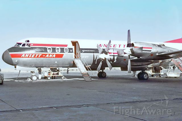 Lockheed L-188 Electra (VH-RMA) - Lockheed L188 Electra. ANSETT-ANA VH-RMA photographed early 1960s Essendon airport.Melbourne, Victori