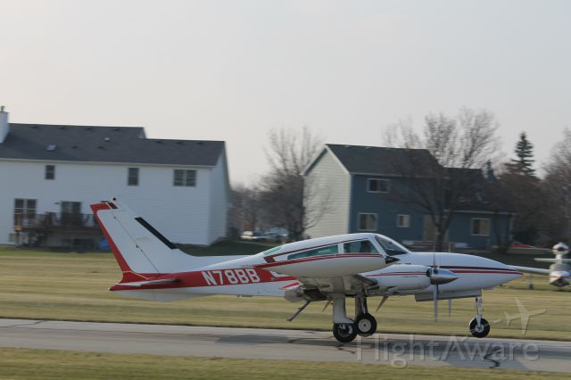 Cessna 310 (N78BB) - Taking off runway 36 at 1C5