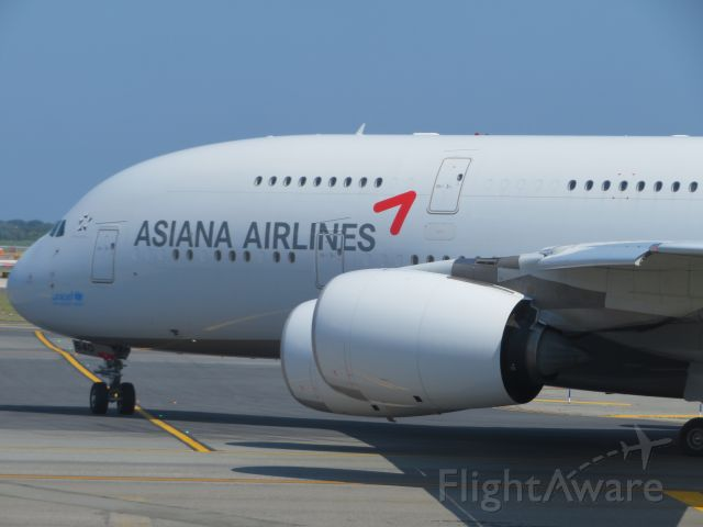 Airbus A380-800 (HL7634) - Here is an Asiana A380 taxiing for departure from JFK to Seoul, South Korea.