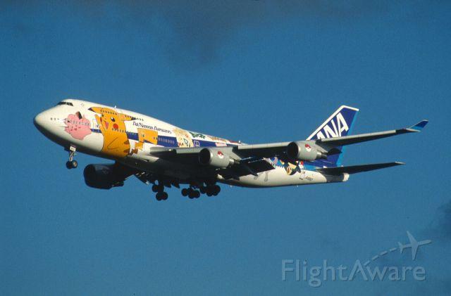 "Boeing 747-400 (JA8962) - Final Approach to Narita Intl Airport Rwy34L on 2000/04/08 "" Inter Pokemon c/s """