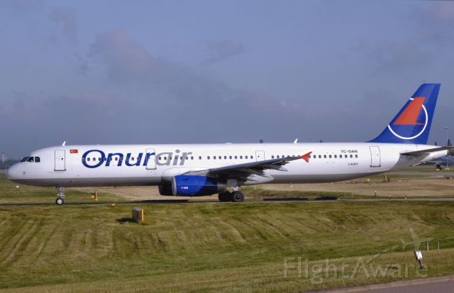 Airbus A321 (TC-OAN) - Onur Air A321 is taxiing to gate.