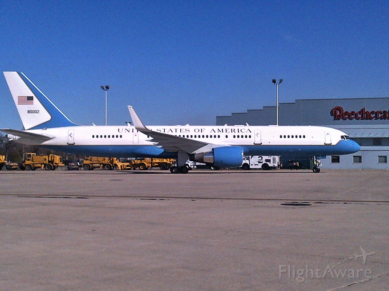 Boeing 757-200 (N80002) - 80002 awaits the arrival of VP Biden at KRFD  and it's call sign change to Air Force Two.