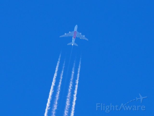 Airbus A380-800 — - EK414 crosses over Perth at FL370 en-route from DXB to SYD