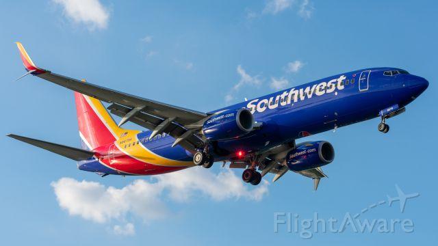 Boeing 737-800 (N8679A) - Landing 13R at Dallas Love Field June 7 2020.