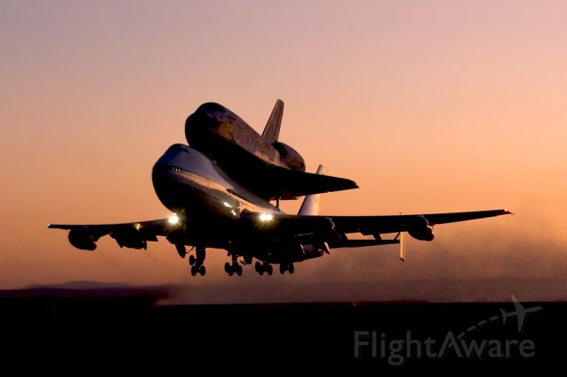 Boeing Shuttle Carrier (N911NA) - Shuttle Discovery departs EAFB on 747 SCA