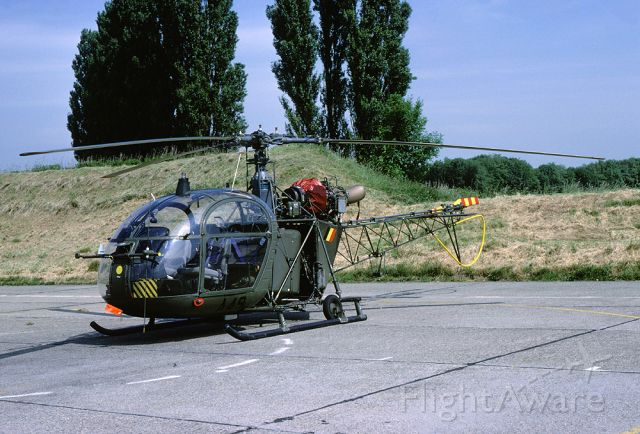 A49 — - Alouette-II helicopter with registration A49 on the parking spot of its