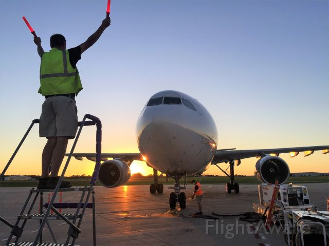 """Airbus A300F4-600 (N717FD) - Marshaling in afternoon FDX Flight 325 / Memphis; Fargo; Appleton; Madison with a night return to Memphis.  """"Gabriel"""" is seconds from engine shut down."""