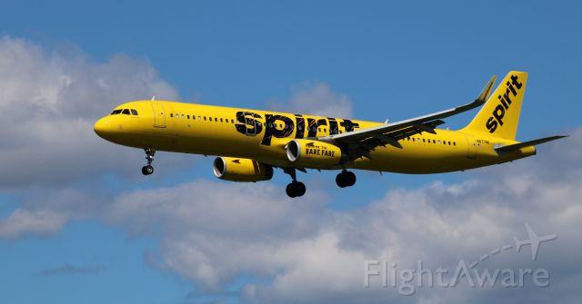 Airbus A321 (N677NK) - On final is this 2017 Spirit Airlines Airbus A321-231 in the Summer of 2020.