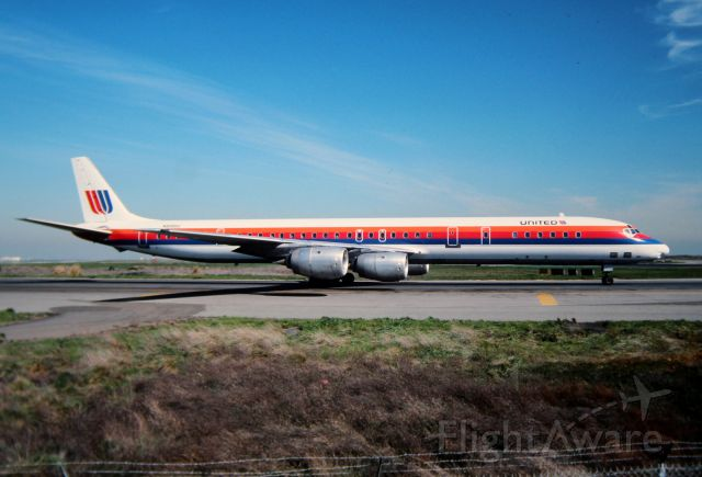 """McDonnell Douglas DC-8-70 (N8086U) - KSFO - UAL stretch """"8"""" rolling slowly to 1R for departure"""