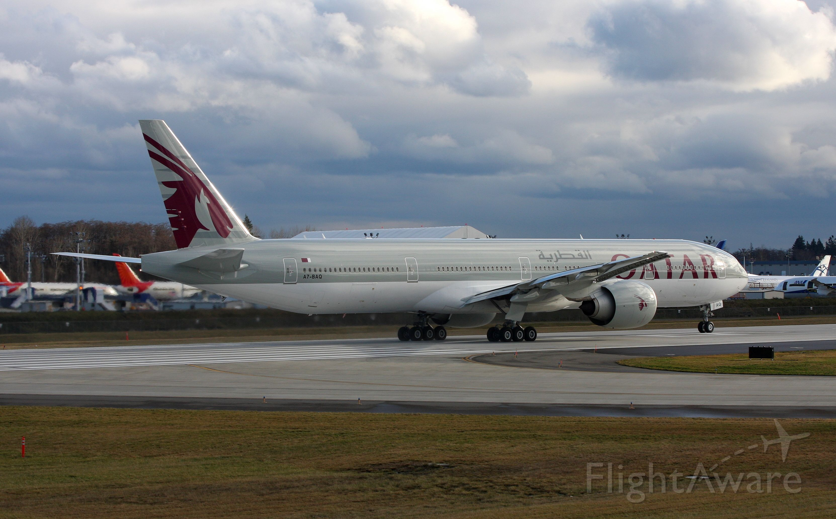 BOEING 777-300 (A7-BAQ) - Qatar 777-300 Delivery flight  from Paine Field to Doha Qatar