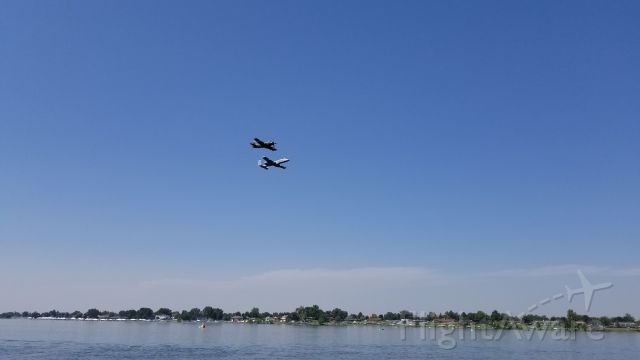 — — - 2018 Heritage Flight, Columbia Cup, Tri-Cities, WA.  A-10 Warthog and A1 Douglas Skyraider.