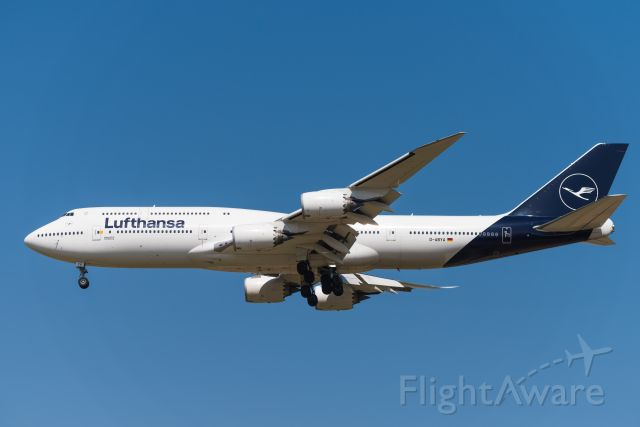 BOEING 747-8 (D-ABYA) - Lufthansa's B748 in a new livery landed at zspd-19.4.12