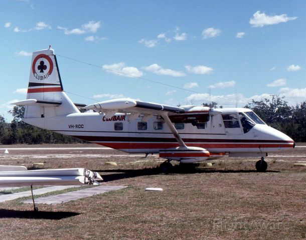 GAF Searchmaster (VH-RCC) - GAF Nomad N22 of ClubAir at Maitland Airport NSW in December 1981.