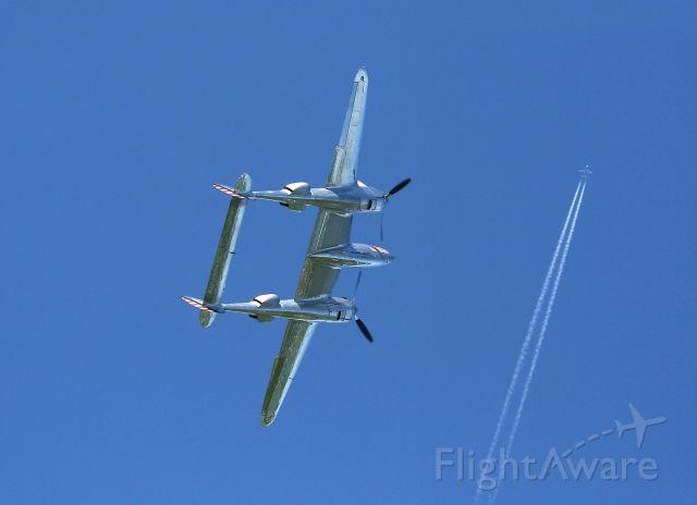 Lockheed P-38 Lightning (N25Y) - Lockheed P-38L Lightning (N25Y), La Ferté-Alais Airfield (LFFQ) Air Show (Le Temps Des Hélices) in may 2012