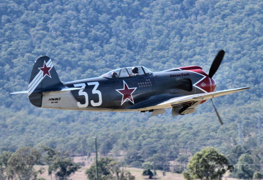 "YAKOVLEV Yak-3 (VH-YOV) - Ex Reno racer ""Steadfast"" N46463 taking off at Watts Bridge Queensland flyin 2015. Possibly the noisiest piston plane Ive heard - MAGNIFICENT"
