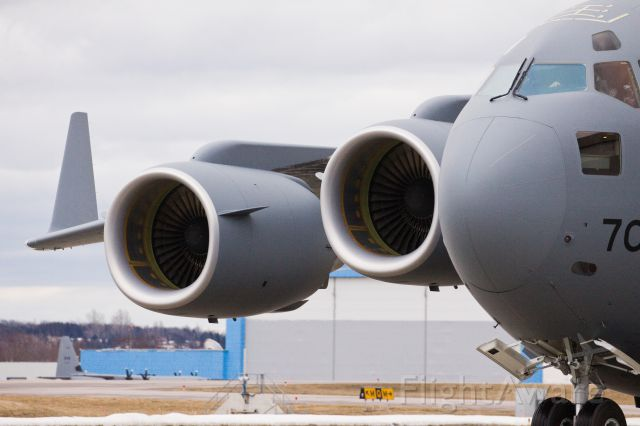 17-7705 — - The newest Canadian C-17 arriving in Trenton today! Taken in the C-17 hanger at YTR! What a beast!