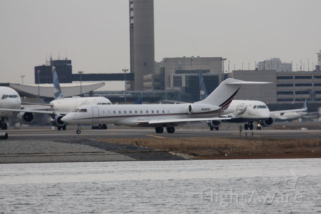 Bombardier Global Express (N146QS) - A little bit of everything at Logan - Private Jet followed by Commercial Passenger (Jet Blue)followed by Freighter (FED EX DC10).