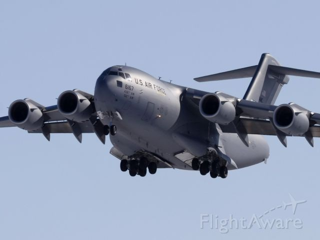 Boeing Globemaster III (N66167) - Taken Feb 16, 2009.  On final for Rwy 32 at YOW with supplies for the US Presidential visit on Feb 19, 2009