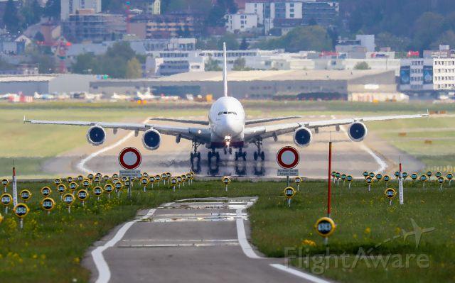 Airbus A380-800 (A6-EDW) - Takeoff from Zuerich / Switzerland
